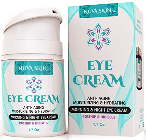Nuva Skin Intensive Eye Cream with Rosehip & Hibiscus - Anti-Aging Under Eye Cream - Reduce the Appearance of Fine Lines, Wrinkles, Dark Circles, Puffiness and Bags, 1.7 Fl Oz (Best Affordable Eye Cream For Wrinkles)