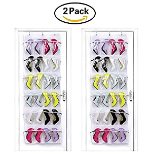 HIPPIH 2 Pack 24 Pockets Over The Door Shoe Organizer Transparent PVC Storage Bag