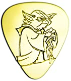 kid guitar pic - Unique & Custom [0.38mm Thin Gauge - Traditional Style Semi Tip] Hard Luxury Guitar Pick Made of Genuine Solid Brass w/ Starwars Sci-Fi Master Yoda Design