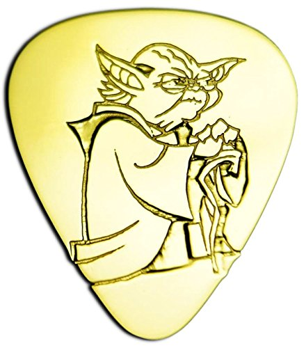 Unique & Custom [0.38mm Thin Gauge - Traditional Style Semi Tip] Hard Luxury Guitar Pick Made of Genuine Solid Brass w/ Starwars Sci-Fi Master Yoda Design