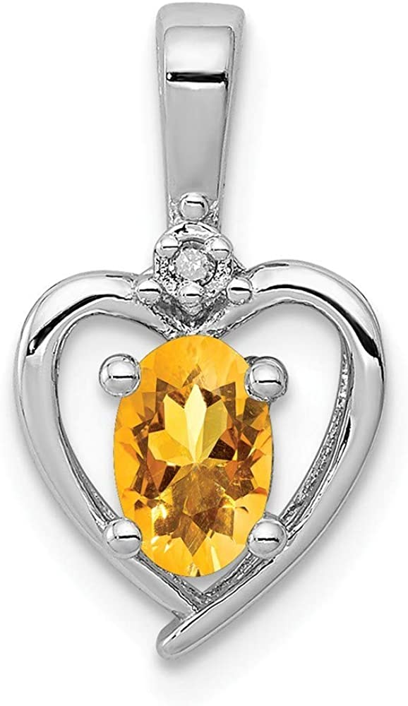 Beautiful Sterling silver 925 sterling Sterling Silver Rhodium-plated Citrine /& Diam Pendant