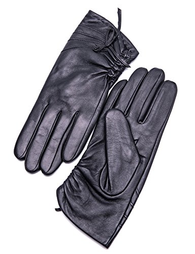 """YISEVEN Women's Winter Sheepskin Touchscreen Genuine Leather Gloves Fleece Lined Driving Dress Warm Fur Cuff Heated Thinsulate Lining Ladies Accessories Work Xmas Gift, Black XL/8.0"""""""