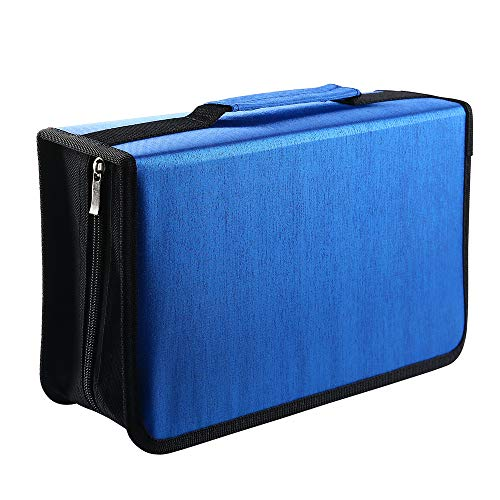 Siveit 128 Capacity CD/DVD Case Wallet, Binder, Storage, Holder, Booklet for Car, Home, Office and Travel (Blue) by Siveit