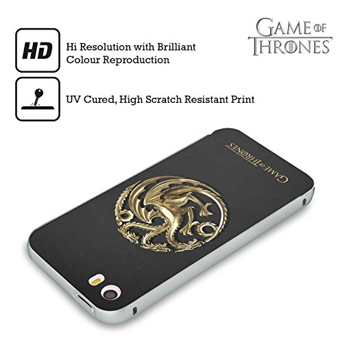 Officiel HBO Game Of Thrones Or Targaryen Symboles Argent Étui Coque Aluminium Bumper Slider pour Apple iPhone 5 / 5s / SE