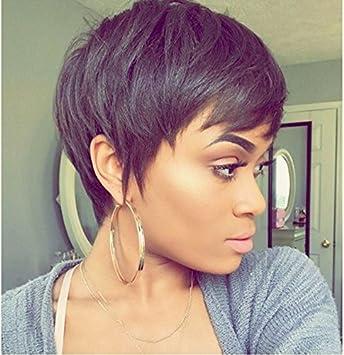 Amazon Com Short Human Hair Wigs Dark Brown Short Virgin Natural