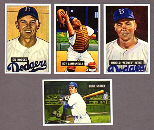 - Brooklyn Dodgers 1951 Bowman Baseball Reprint (4) Card Super Star Lot featuring Duke Snider, Pee Wee Reese, Gil Hodges, Roy Campanella