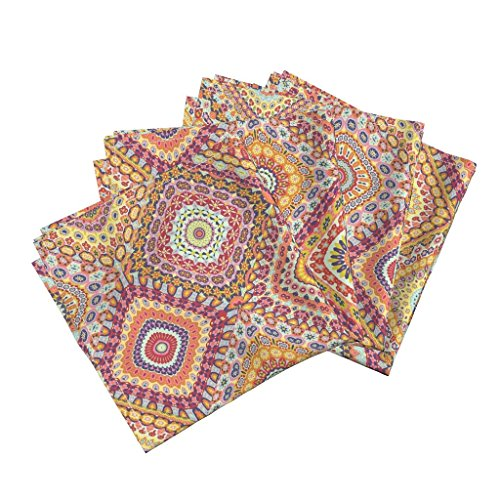 n Cotton Dinner Napkins Granny's Millefiori Cheater Quilt by Groovity Set of 4 Cotton Dinner Napkins made by ()