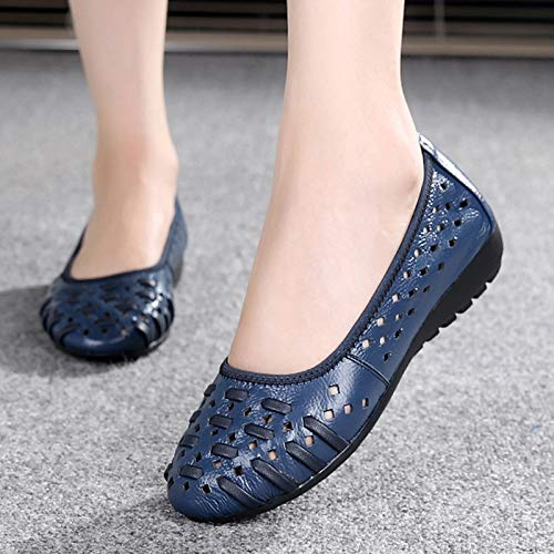 White maternity comfort Leather shoes ladies casual soft FLYRCX bottom sandals shoes work shoes shoes hollow single flat axUqxP4R