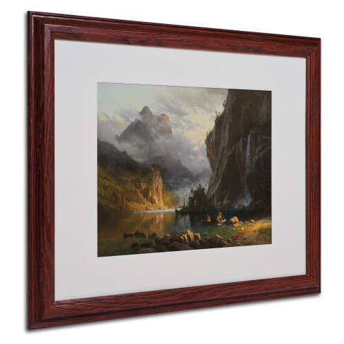 Frame Canvas Bierstadt - Indians Spear Fishing Canvas Wall Art by Albert Bierstadt with Wood Frame, 16 by 20-Inch