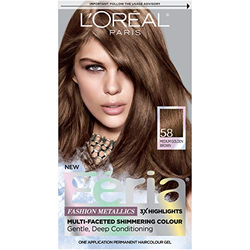 L'Oréal Paris Feria Multi-Faceted Shimmering Permanent Hair Color, 58 Bronze Shimmer (Medium Golden Brown), 1 kit Hair ()