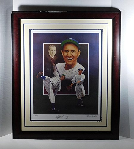Art Signed Matted Print - Lefty Gomez Signed 17 x 22 Paluso Print Framed & Matted - Autographed MLB Art