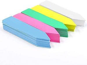 Meten 100 PCS 4Inch Plastic Plant Labels Nursery Garden Labels, Waterproof Plant Markers Pot Garden Stake Tags (Five-Color Plant Tags)