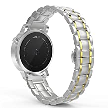 MoKo Band for Motorola Moto 360 2nd Gen. 20mm Stainless Steel Watch Band Strap for Moto 360 (Men's 42mm Smartwatch) (Also Fit Samsung Gear Sport / Gear S2 Classic SM-R732 / R735), SILVER & GOLD