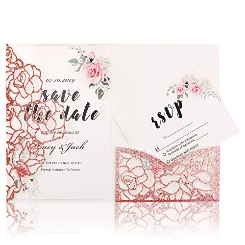 - HIGHYI Laser Cut Wedding Invitation Card-Apple Gold Glitter Paper 3 Folds Greeting Card For Engagement Birthday Baby Shower Dinner (DIY Blank Inner Sheet) 20PCS