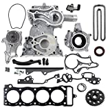 NEW TK2060TCWPOPHG Timing Chain Kit (1 Heavy Duty Metal Straight Guide) with Timing Cover, Water Pump, & Multiple Layer Steel Head Gasket / 85-95 Toyota 2.4L 4Runner Pickup Celica Engine 22RE 22REC