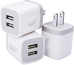 USB Wall Charger, 3 Pack GiGreen Dual Port Charging Plug Adapter, 5V 2.1A Travel Cube Block Fast Phone Power Charging Box Compatible iPhone XS X 8 7, LG V30 G7 G6, Samsung S9+ S8 Note 9, Nexus, Moto