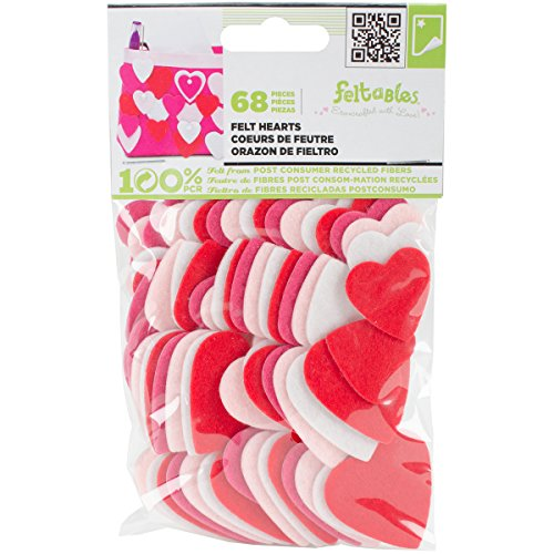 New Image Group Stick it Felt Shapes, Hearts, 68 pieces (Heart Felt Shape)
