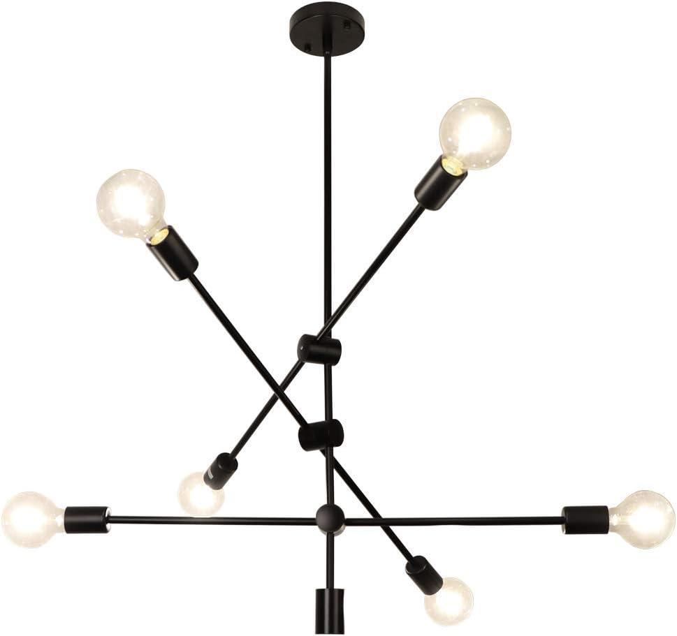LynPon Vintage Sputnik Deckenleuchte Schwarz K/üche Wohnzimmer Retro Deckenlampe Kronleuchter Rustikaler Stil f/ür Landhaus 8 flammig Industriell Kronleuchter Esszimmer