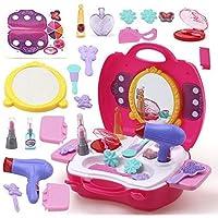 MIZPAH ENTERPRISE Beauty Make Up Case and Cosmetic Set Suitcase, Durable Kit Hair Salon with 21 Pcs Makeup Accessories for Children Girls