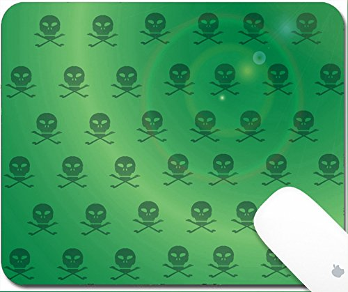 Luxlady Gaming Mousepad 9.25in X 7.25in IMAGE: 32539123 Vector wallpaper with skulls on green (Halloween Wallpaper Mac)