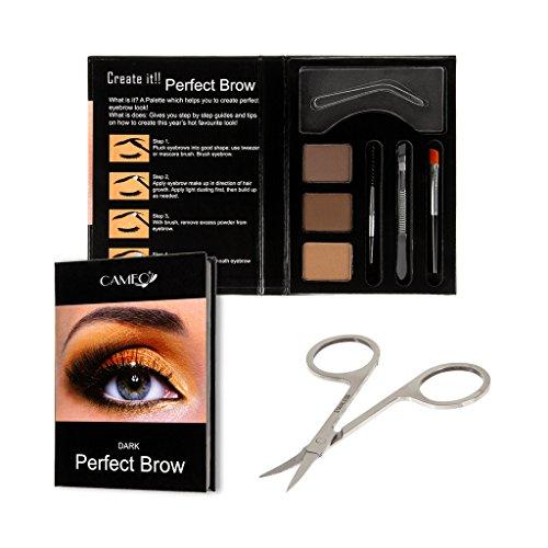 Perfect Brow Eyebrow Makeup Kit - Premium Dark Brown Eyebrow Color With FREE Eyebrow Grooming Scissors - Ideal Eyebrow Hair Trimmer