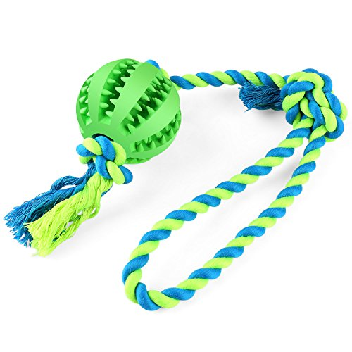 BAODATUI Dog Chew Toy Cotton Rope Ball for Tug of War with Your Small Medium - Solid Rubber Ball on Rope for Reward, Fetch, Play - Natural Rubber - Effective ()