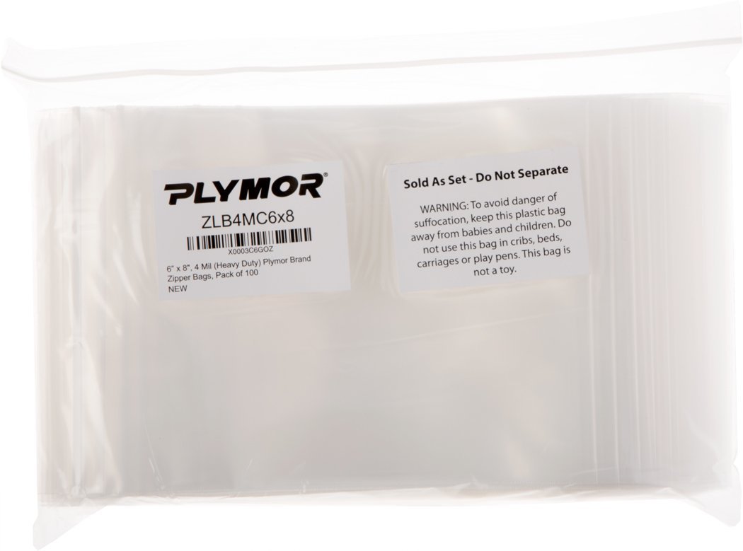 Plymor 6'' x 8'', 4 Mil (Pack of 100) Heavy Duty Plastic Reclosable Zipper Bags