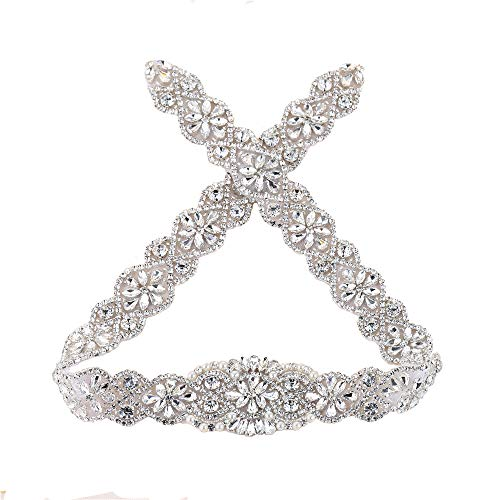 XINFANGXIU Rhinestone Wedding Dress Applique, 29.7 x 1.9 in, Crystal Pearl Beaded Applique Trim Handmade Satin Ribbons Long for Bridal Sashes Belts - Silver ()