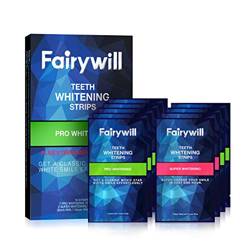 Fairywill Pro Teeth Whitening Strips Non-Slip for Sensitive Teeth, Whitener Strips Remove All Manner of Stains in 30mins, 18 Pcs 9 Treatments Teeth Strips Dental Formula