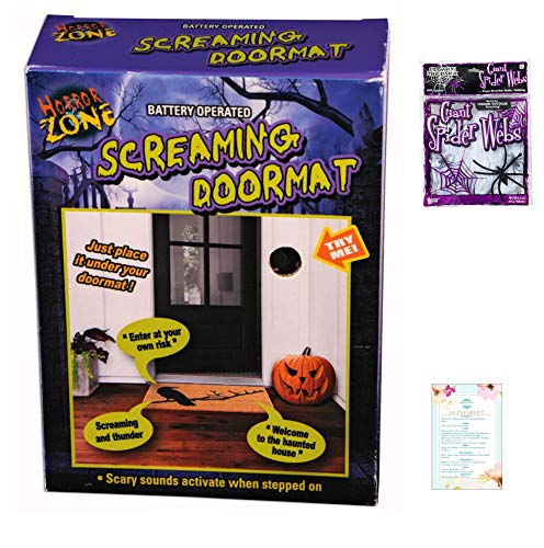 ForumNovelties Scary Sounds Doormat Pad and Glow in The Dark Spiderweb (with Party Planning Checklist) (Costume Doormat)