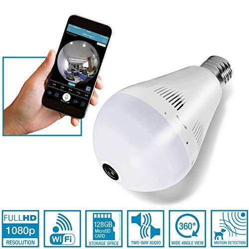 Light Bulb Camera Wireless Hidden, VR 360 Panoramic WiFi Light Bulb IP Camera