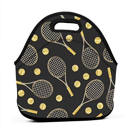 (NiYoung Lunch Tote Bag Funny Colourful Tennis Racquets and Tennis Balls Insulated Cooler Thermal Reusable Bag - Lunch Box Portable Handbag for Men Women Kids Boys Girls)