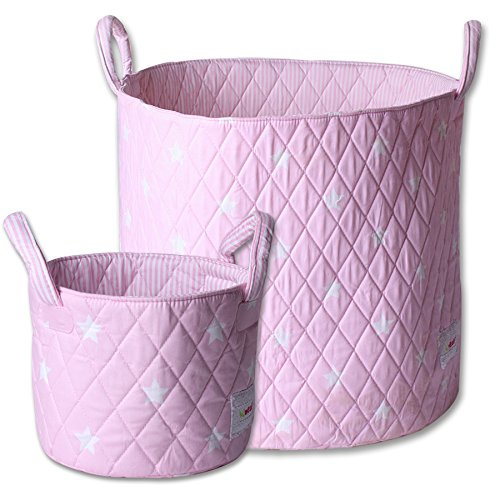 Minene Large & SMall Fabric Storage Basket Set , Organiser, Nursery, Kids,Star Storage Pink&White Stars 211240