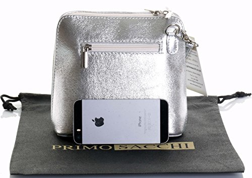 a Primo Silver Genuine Small Leather Sacchi Protective Branded Italian Storage Includes Bag Bag Shoulder Handbag 66qwvrCx5