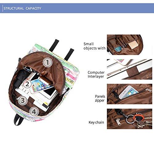 Mochila de Bookbag Unicornio Preescolar Universidad JOSEKO Mochila la Bolso Monedero Imprimir Verde niñas Ligera para Femenino RdPw6Sxq