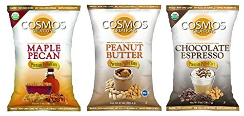 Caramel Pecan Popcorn - Cosmos Creations Organic Variety Pack (1) Puffed Organic Maple Pecan (1) Puffed Chocolate Espresso (1) Puffed Organic Peanut Butter 6oz bags (Variety 3 Pack)