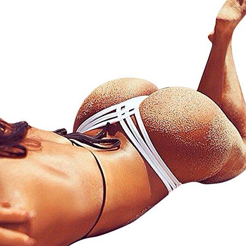 EOWEO Women Swimwear Women Sexy Bottoms Swimsuit Bikini Swimwear Cheeky Thong V Swim Trunks(Medium, White) (Boyshort Mesh Fine)