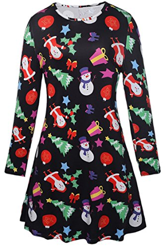 LaSuiveur Multicolor Halloween and Christmas Print Long Sleeve Shift Dress,New 9,X-Large]()