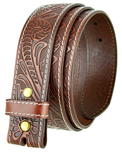 Western Floral Engraved Tooled Leather Belt Strap 1-1/2 (TAN, 44)