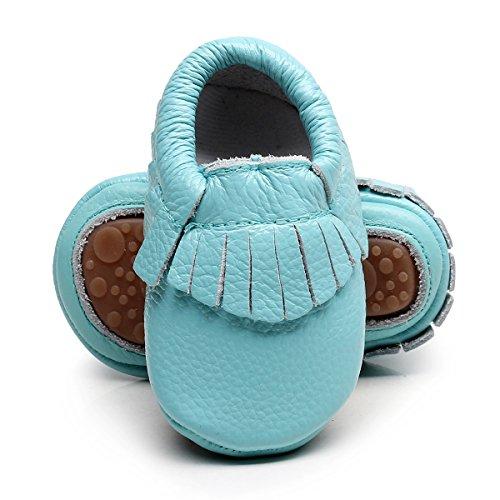 Leather Baby Moccasins Hard soled Tassel Crib