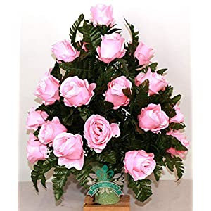 Beautiful XL Pink Roses Cemetery Flowers for a 3 Inch Vase 76