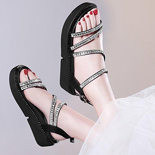 HUAIHAIZ Tacones de Mujer Dew-Toe Sandalias Taladro de Agua de Fondo Plano Noche Zapatos Zapatos Black