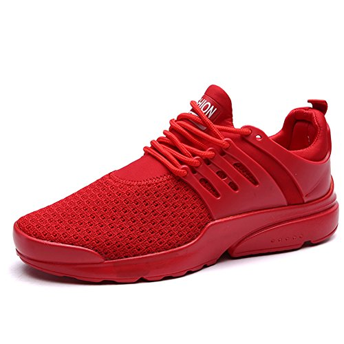 Leader Show Men's Casual Breathable Sports Shoe Athletic Fashion Mesh Sneaker (7.5, Red) Athletic Casual Tennis Shoes