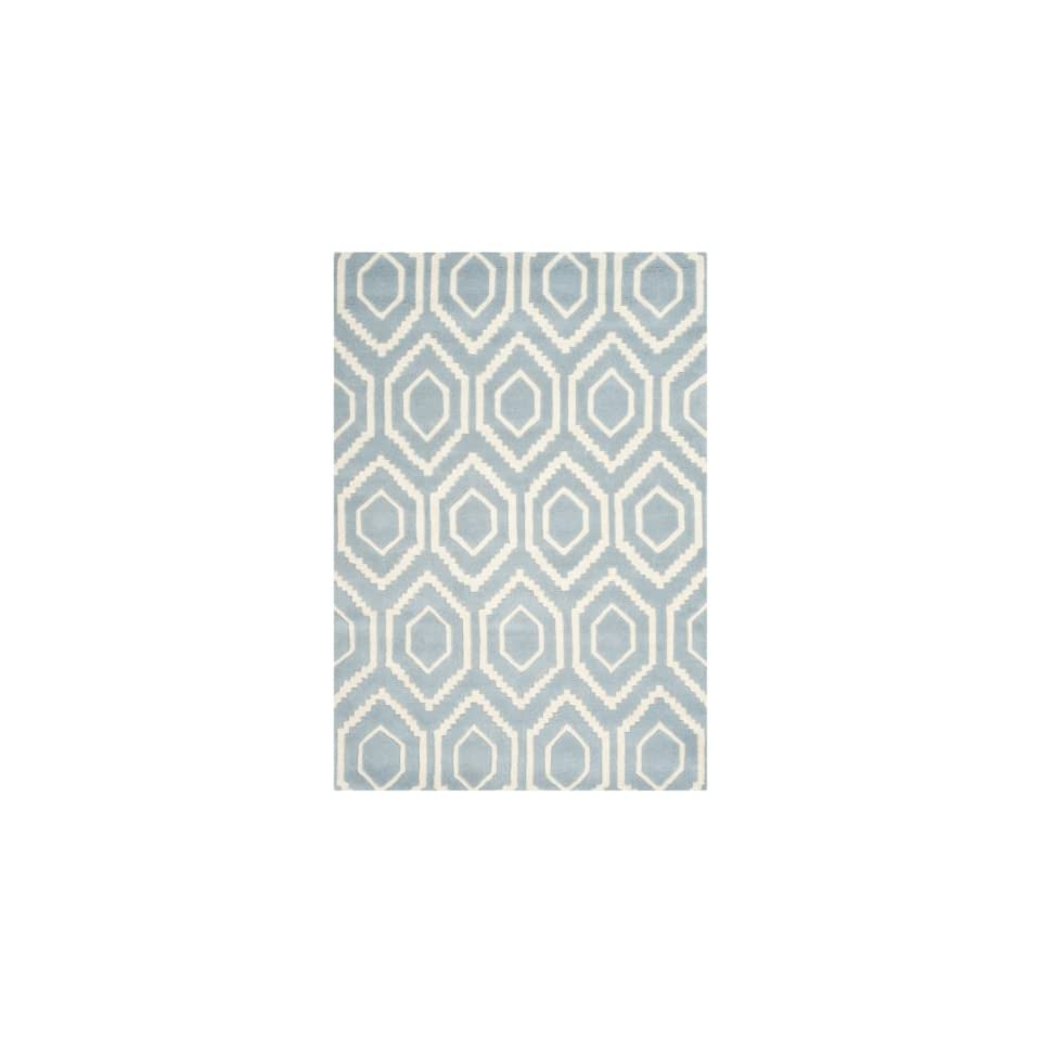 Safavieh Chatham Collection CHT731B Handmade Blue and Ivory Premium Wool Area Rug (4 x 6)