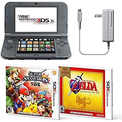 Image of Black Nintendo 3DS XL Bundle Nintendo, AC Adapter, and Two Full Games 3D Mode (Ages 7+ Years) Games