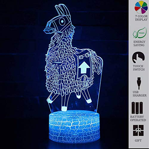 Fortress Night LED Lights,Loot Llama Plush Stuffed 3D Visual Bulbing lampen,Changeable USB 16 Colors Remote Control and Touch,Bedroom Decoration LED Lighting for Kids Christmas Gift