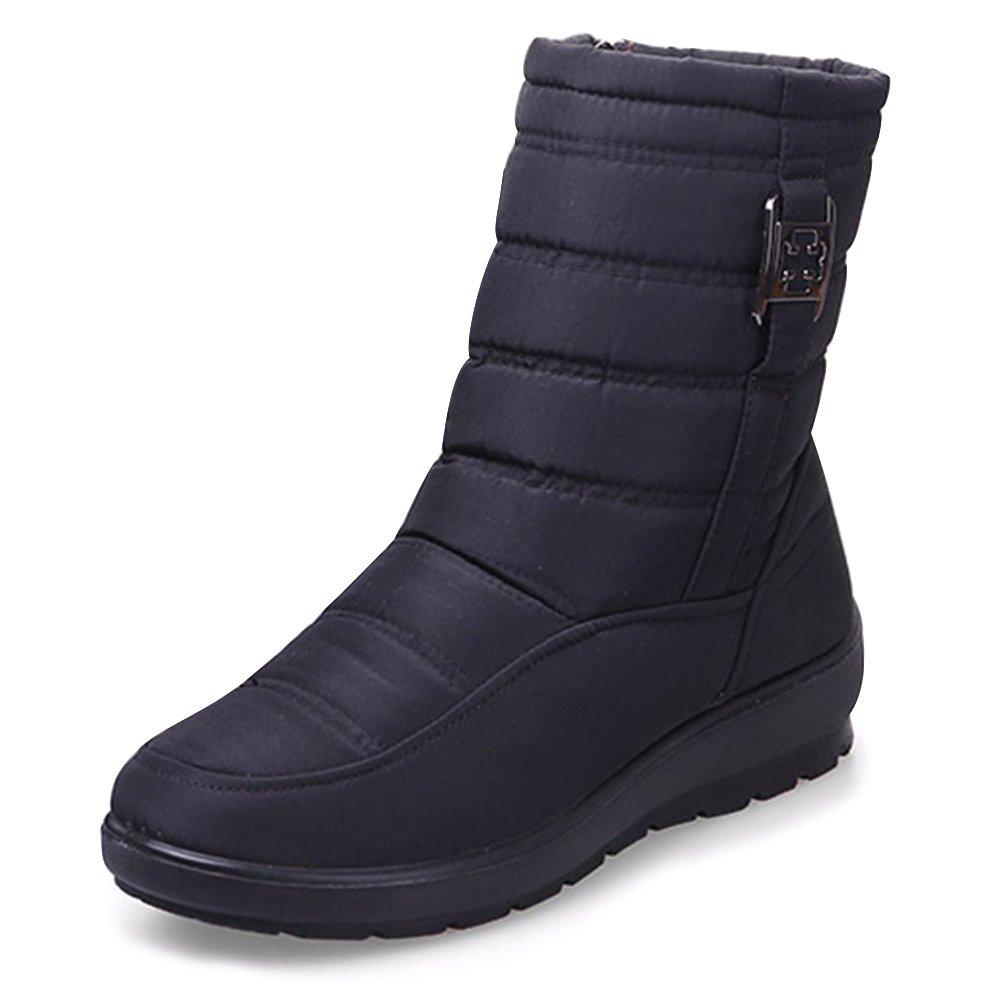 Largeshop 冬用ブーツ レディース スノーブーツ 雪用ブーツ 防寒 アウトドア 滑り止め 裏ボア 保暖 通気 冬靴 カジュアル ファッション