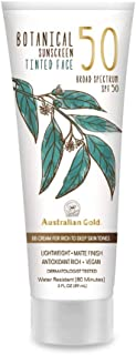 product image for NEW Australian Gold Botanical Sunscreen Tinted Face BB Cream SPF 50, 3 Ounce | Rich/Deep | Broad Spectrum | Water Resistant | Vegan | Antioxidant Rich | A70887
