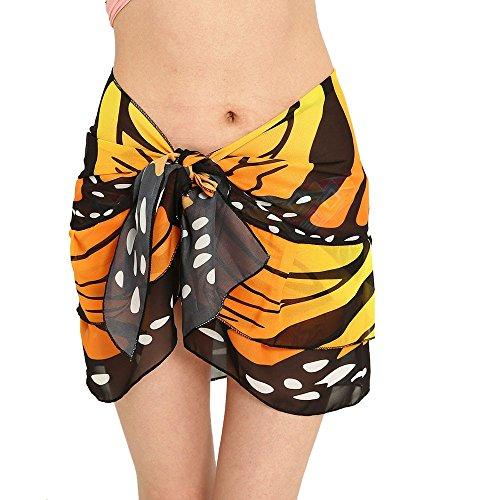 De Couverture LUBITYJupe Soie Solaire Bikini Plage Jaune Papillon Mousseline Protection En ChaLe ChaLe Imprim Jupes Sexy De Jupe De De gqdOUUw