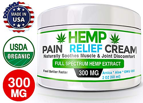 Organic Hemp Pain Relief Cream  300 Mg  Made in USA - Natural Hemp Extract Cream for Muscle, Inflammation, Joint, Back, Neck, Knee & Arthritis Pain with Arnica, Aloe, MSM & EMU Oil - GMO-Free